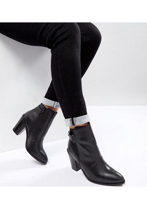 ASOS EFFINA Leather Ankle Boots - Black