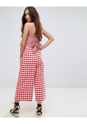 ASOS Jumpsuit with Contrast Gingham Bodice - Gingham