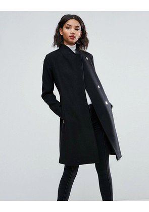 ASOS Smart Slim Coat with Funnel Neck - Black