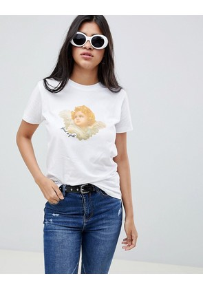 ASOS DESIGN t-shirt with good as gold angel iconography print - White