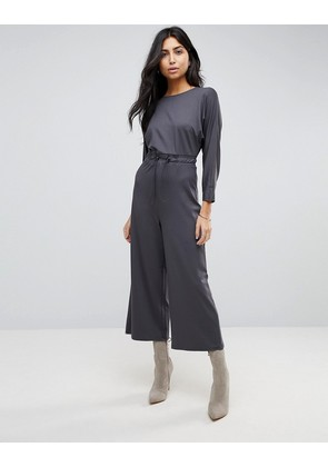 ASOS Jersey Jumpsuit with Toggle Waist and Batwing Sleeve - Charcoal