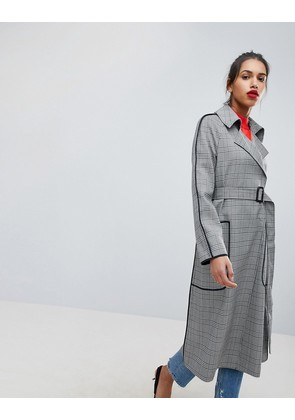 ASOS Checked Mac with Contrast Piping - Mono