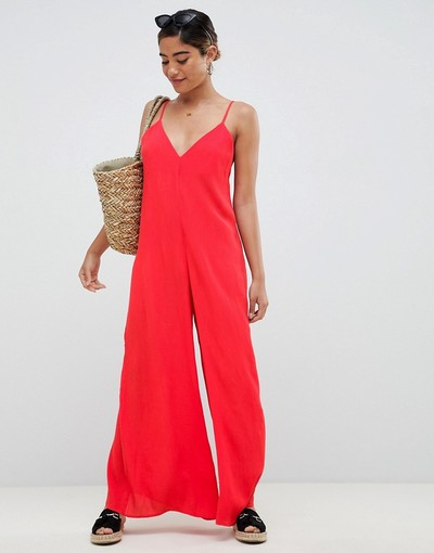79b09d54e23 ASOS DESIGN Deep V Strap Back Jumpsuit