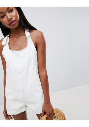 ASOS DESIGN denim romper in white with tie strap - White