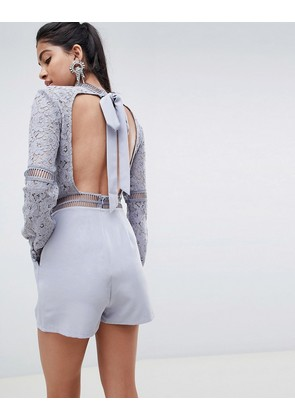 ASOS DESIGN Premium Open Back Lace Playsuit - Grey