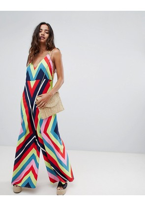 ASOS DESIGN Deep V Strap Back Jumpsuit In Rainbow Stripe - Rainbow stripe