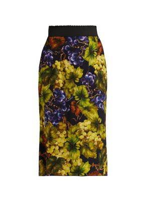 Grape-print cady midi skirt