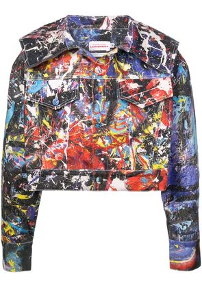 Charles Jeffrey Loverboy caped painted denim jacket - Multicolour