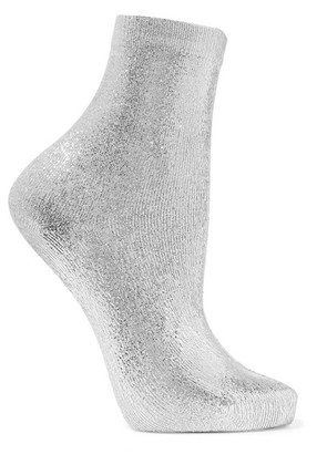 Maria La Rosa - Ribbed Metallic Silk-blend Socks - Silver