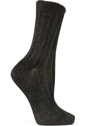 Maria La Rosa - Ribbed Metallic Cotton-blend Socks - Black