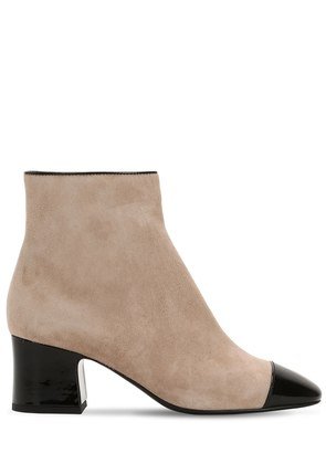 60MM SUEDE & PATENT LEATHER ANKLE BOOTS