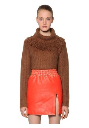 FRINGED COLLAR BRUSHED MOHAIR SWEATER