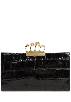 CROC EMBOSSED LEATHER KNUCKLE CLUTCH
