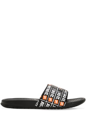 BENASSI JUST DO IT PRINT SLIDE SANDALS