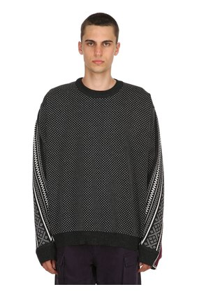 NORWEGIAN PANELED WOOL KNIT SWEATER