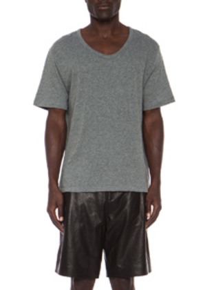 T by Alexander Wang Classic Low Neck Tee in Gray