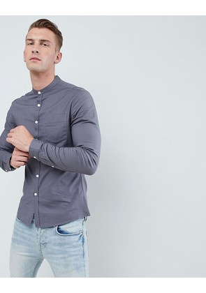 ASOS DESIGN skinny oxford shirt in dark grey - Graphite