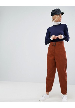 ASOS DESIGN alanis trouser with belt detail in rust - Rust