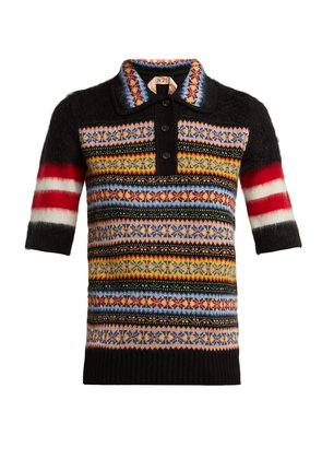 Patterned wool-blend polo shirt