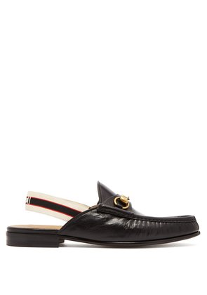 Horsebit slingback-strap backless leather loafers