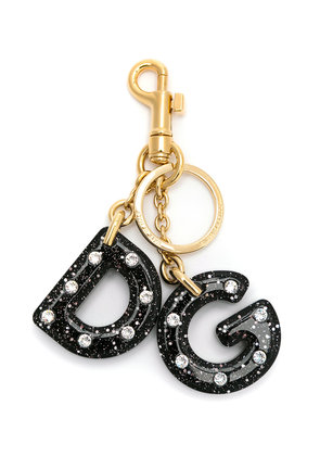 Dolce & Gabbana encrusted logo key ring - Metallic