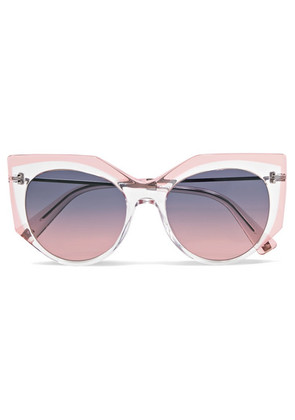 Valentino - Valentino Cat-eye Acetate And Silver-tone Sunglasses - Pink
