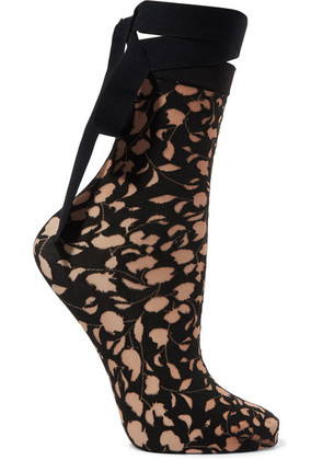 Wolford - Amelia Tie-detailed Devoré Socks - Black