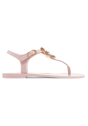 Dolce & Gabbana - Crystal-embellished Rubber And Patent-leather Sandals - Baby pink