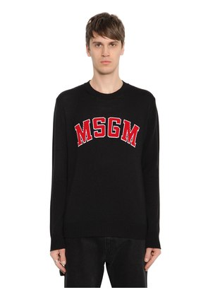 LOGO JACQUARD WOOL BLEND SWEATER