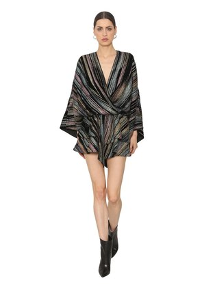 DRAPED LUREX ROMPER