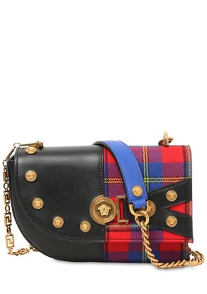 CLASH LEATHER & PLAID SHOULDER BAG