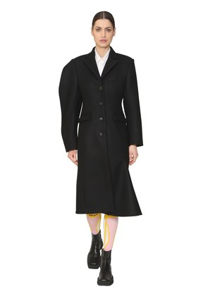 STRUCTURED SLEEVE WOOL BLEND COAT