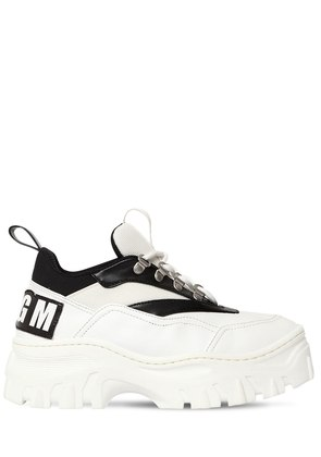 40MM FAUX LEATHER & MESH SNEAKERS