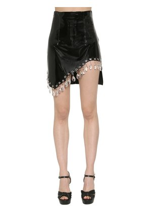 PATENT LEATHER SKIRT W/ CRYSTALS