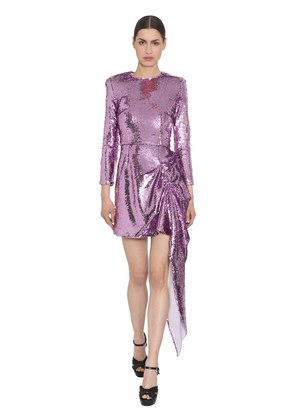 SEQUINED DRESS W/ DRAPED DETAIL