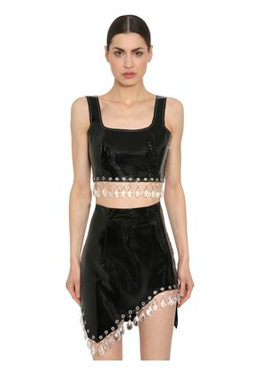 PATENT LEATHER CROP TOP W/ CRYSTALS