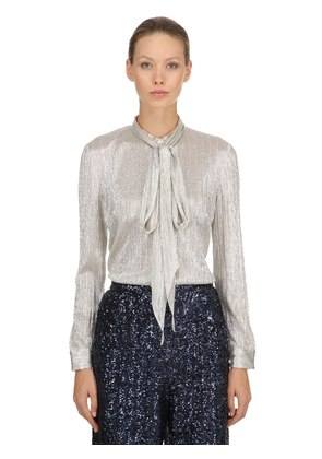 METALLIC COATED TULLE SHIRT W/ BOW
