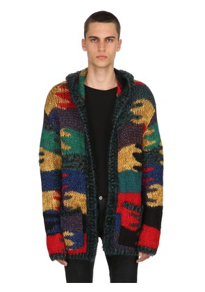 CAMOUFLAGE WOOL BLEND JACQUARD CARDIGAN
