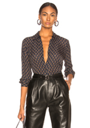 L'AGENCE Nina Long Sleeve Blouse in Abstract,Blue