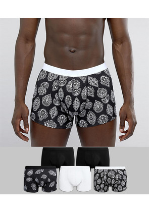 ASOS Trunks In Monochrome With Paisley Print 5 Pack - Monochrome