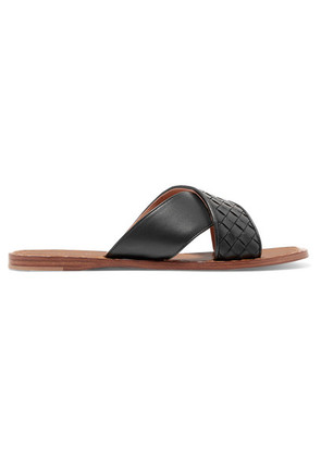 Bottega Veneta - Intrecciato Leather Slides - Black