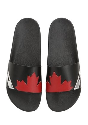MAPLE LEAF LEATHER SLIDE SANDALS