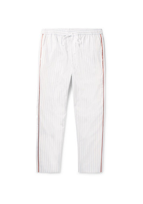 Tapered Satin-trimmed Striped Cotton Drawstring Trousers