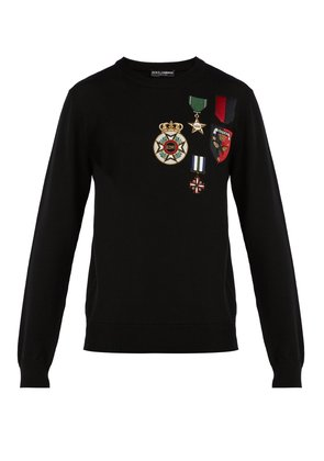 Medal-embroidered wool sweater