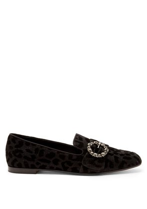 Leopard-print crystal-buckle loafers