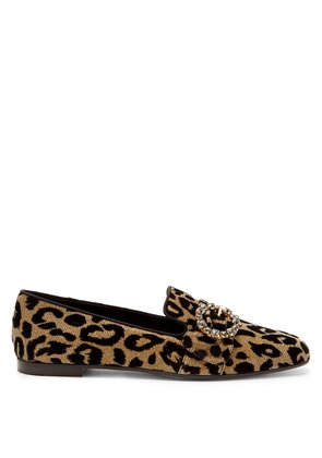 Crystal and leopard print-jacquard loafers
