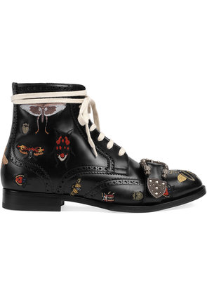 Gucci Queercore embroidered brogue boots - Black