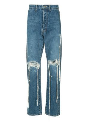 Doublet distressed straight leg jeans - Blue