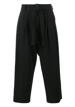 The Viridi-Anne cropped rope belt trousers - Black