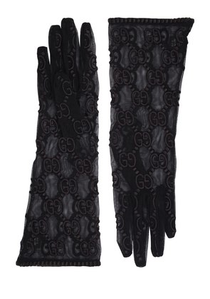 GG SUPREME EMBROIDERED TULLE GLOVES